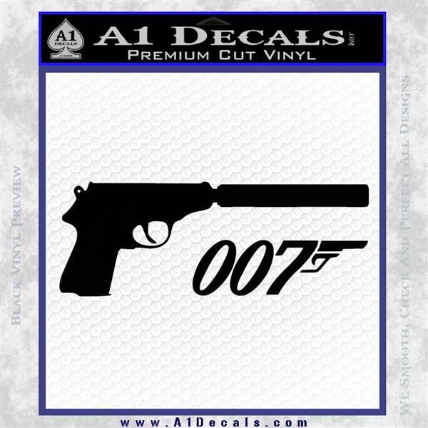 Walther PPK Gun Silencer 007 Decal Sticker Black Vinyl Logo Emblem
