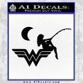 Wild Woman Fishing Moon Decal Sticker Black Vinyl Logo Emblem 120x120