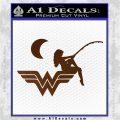 Wild Woman Fishing Moon Decal Sticker Brown Vinyl 120x120