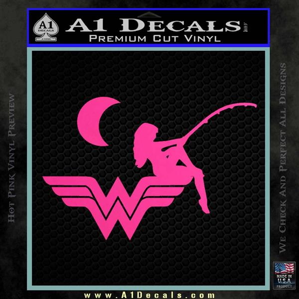 Wild Woman Fishing Moon Decal Sticker Hot Pink Vinyl