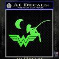 Wild Woman Fishing Moon Decal Sticker Lime Green Vinyl 120x120