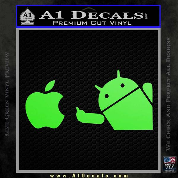 Android Flips Bird To Apple Decal Sticker Lime Green Vinyl