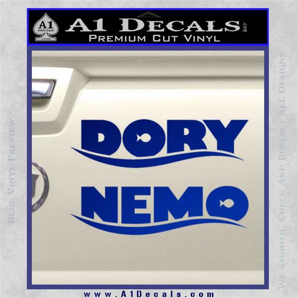 Dory and Finding Nemo Logos Decal Sticker Blue Vinyl