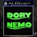 Dory and Finding Nemo Logos Decal Sticker Lime Green Vinyl 120x120
