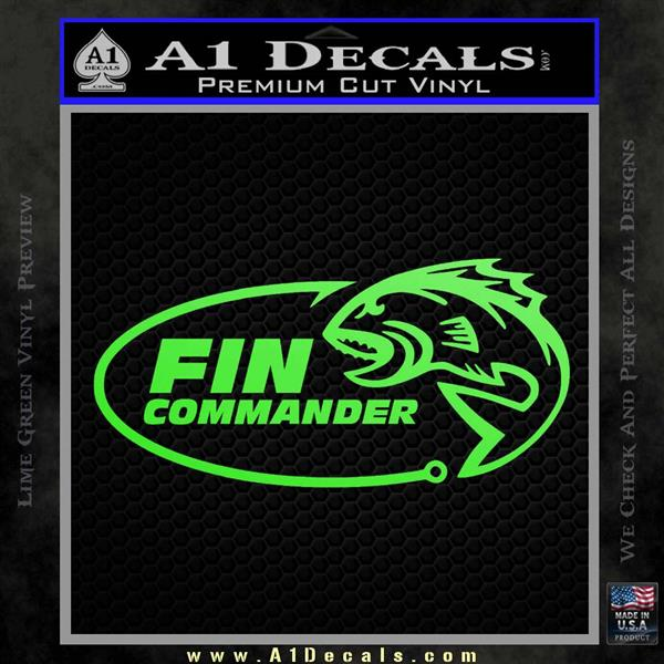 Fin Commander Decal Sticker Lime Green Vinyl