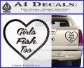 Girls Fish Too Heart Decal Sticker Carbon Fiber Black 120x97