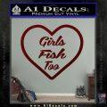 Girls Fish Too Heart Decal Sticker Dark Red Vinyl 120x120