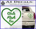 Girls Fish Too Heart Decal Sticker Green Vinyl 120x97