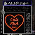 Girls Fish Too Heart Decal Sticker Orange Vinyl Emblem 120x120