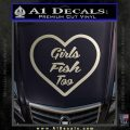 Girls Fish Too Heart Decal Sticker Silver Vinyl 120x120