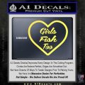 Girls Fish Too Heart Decal Sticker Yellow Vinyl 120x120
