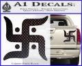 Hindu Swastika Decal Sticker D2 Carbon Fiber Black 120x97