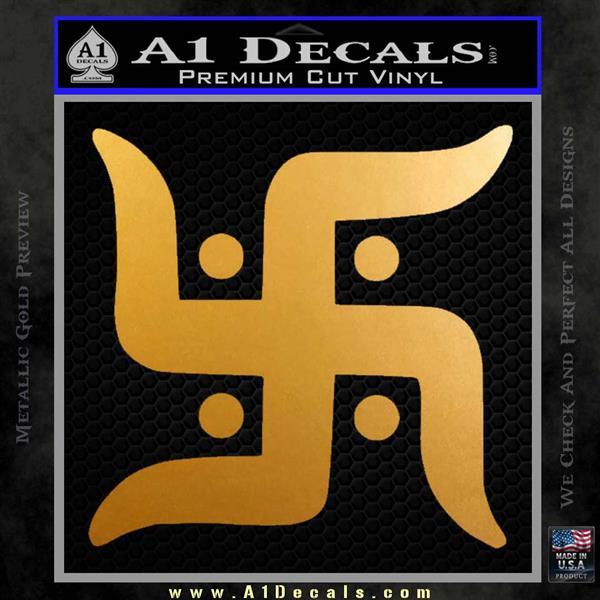 Hindu Swastika Decal Sticker D2 Metallic Gold Vinyl