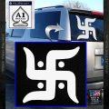Hindu Swastika Decal Sticker D2 White Vinyl Emblem 120x120