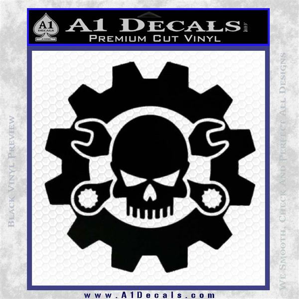 JDM Skull Wrench Gear Decal Sticker Black Vinyl Logo Emblem