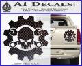 JDM Skull Wrench Gear Decal Sticker Carbon Fiber Black 120x97