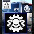 JDM Skull Wrench Gear Decal Sticker White Vinyl Emblem 120x120