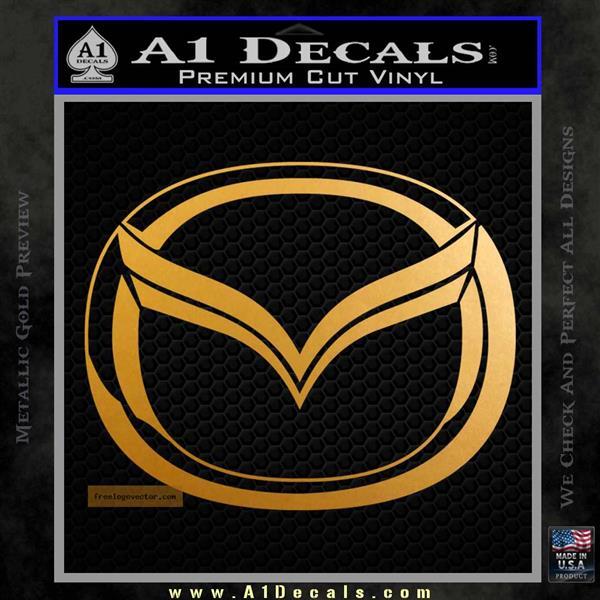 Mazda 3D Decal Sticker Logo Metallic Gold Vinyl
