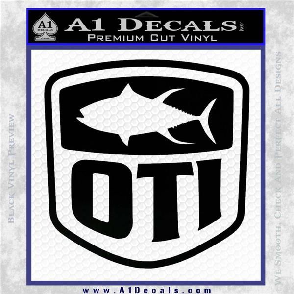 OTI FIshing Decal Sticker Black Vinyl Logo Emblem