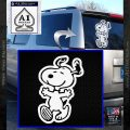 Snoopy Decal Sticker Dance V2 White Vinyl Emblem 120x120