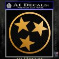 Tennessee Tri Star Decal Sticker Metallic Gold Vinyl 120x120