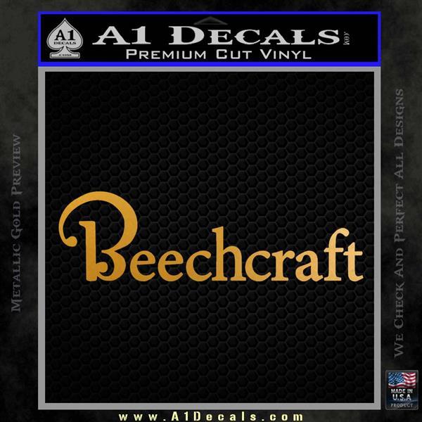 Beechcraft Decal Sticker Airplane Aero Metallic Gold Vinyl
