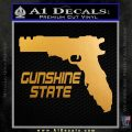Florida Gun Mashup Decal Sticker Metallic Gold Vinyl 120x120