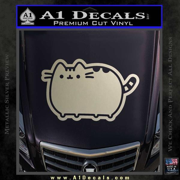 Pusheen Decal Sticker Cat Kitty Cute Normal D2 Silver Vinyl