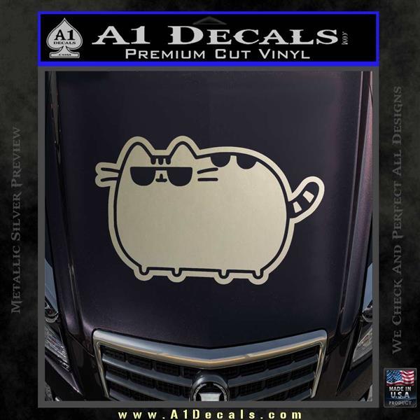 Pusheen Decal Sticker Cat Kitty Sunglasses Walk D2 Silver Vinyl