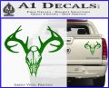 Skull Antlers Decal Sticker Bone Collector Green Vinyl 120x97