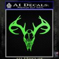 Skull Antlers Decal Sticker Bone Collector Lime Green Vinyl 120x120