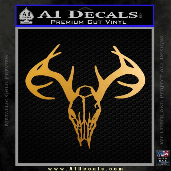 Skull Antlers Decal Sticker Bone Collector Metallic Gold Vinyl