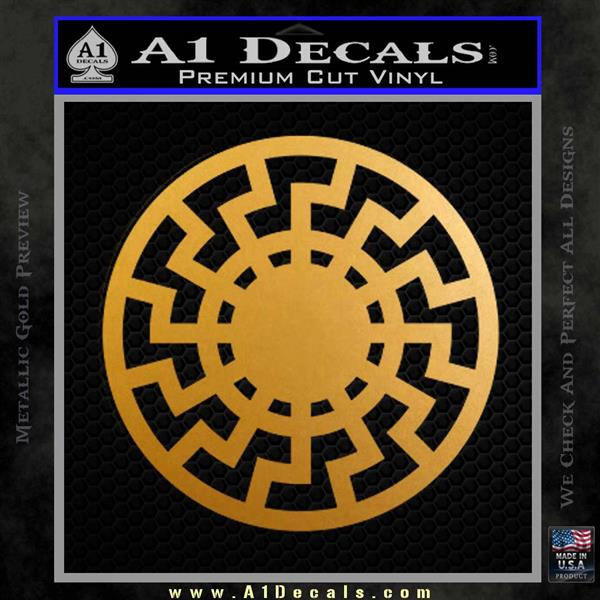 Sun Rune Decal Sticker Celtic Symbol D2 Metallic Gold Vinyl