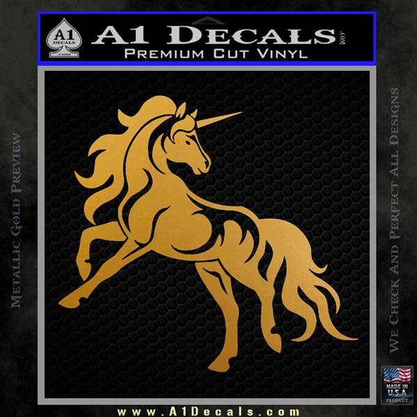 Unicorn Decal Sticker D1 Metallic Gold Vinyl